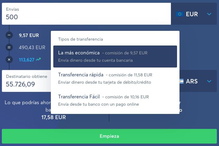 ejemplo_tipo de comisiones transferwise